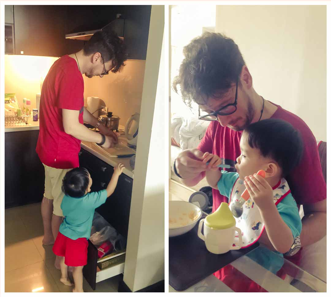Auslandsadoption - Adoptivvater kocht mit Adoptivkind
