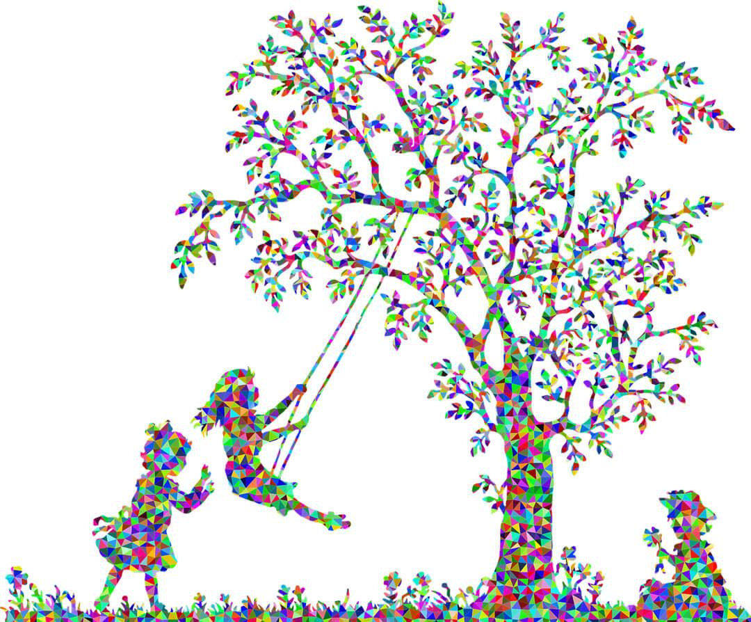 Wunschkinder - Kinder spielen mit einer Schaukel